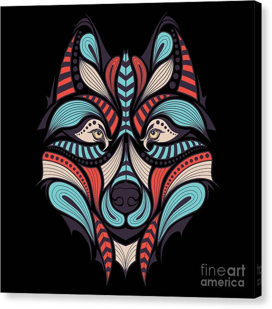 Teeth Canvas Print - Patterned Colored Head Of The Wolf by Sunny Whale
