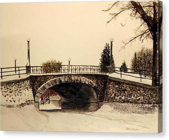 Patterson Creek Bridge In Winter Canvas Print
