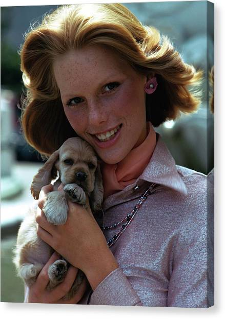 Cocker Spaniels Canvas Print - Patti Hansen Carrying A Puppy by William Connors