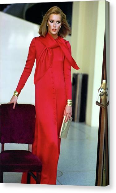 Patti Hansen Wearing A Red Dress Canvas Print