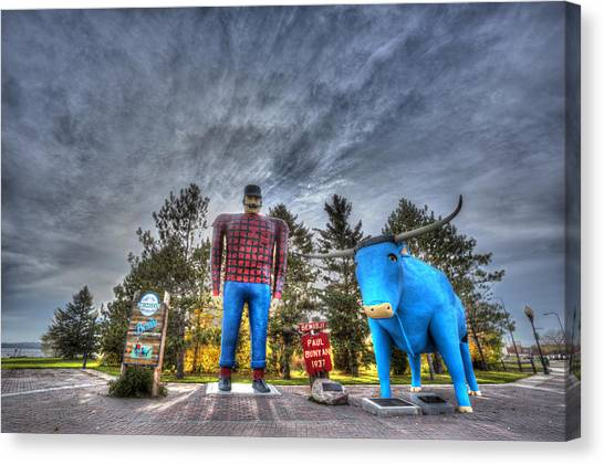 Paul Bunyan And Babe The Blue Ox In Bemidji Canvas Print