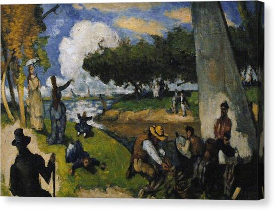 The Metropolitan Museum Of Art Canvas Print - Paul Cezanne 1839-1906. The Fishermen Fantastic Scene. Ca. 1875 by Bridgeman Images