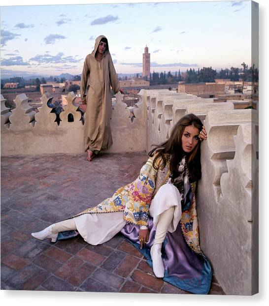 Fashion Canvas Print - Paul Getty Jr And Talitha Getty On A Terrace by Patrick Lichfield