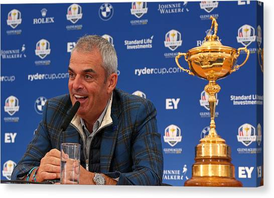 Paul Mcginley Press Conference - 2014 Ryder Cup Canvas Print by Mike Ehrmann