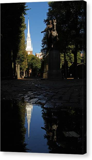 Old Christ Church Canvas Print - Paul Revere And The Old North Church by Juergen Roth