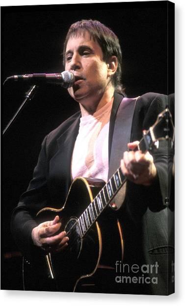 Folk Singer Canvas Print - Paul Simon by Concert Photos