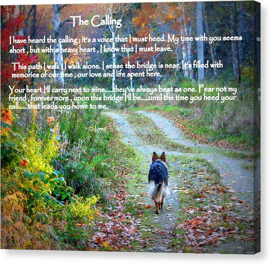 German Shepherds Canvas Print - Paw Prints The Calling by Sue Long