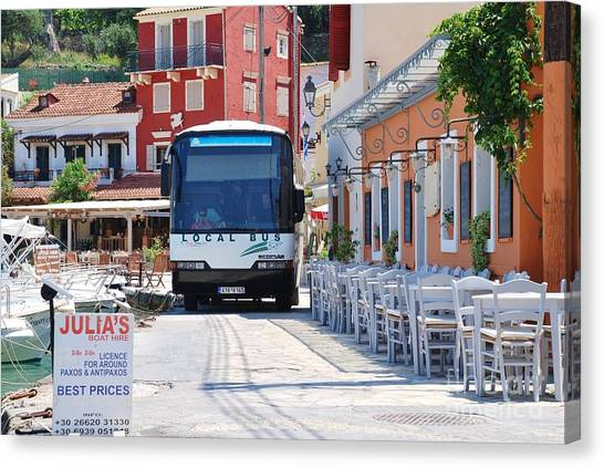Paxos Island Bus Canvas Print