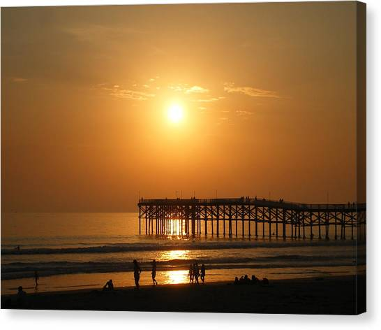 Pb Sunset Over The Pier Canvas Print