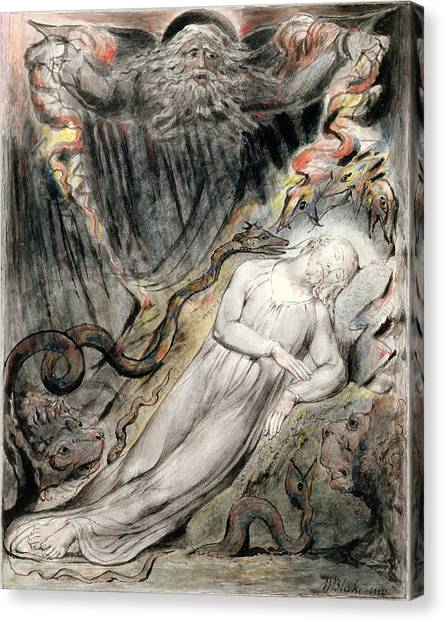 Satan Canvas Print - Pd.20-1950 Christs Troubled Sleep by William Blake