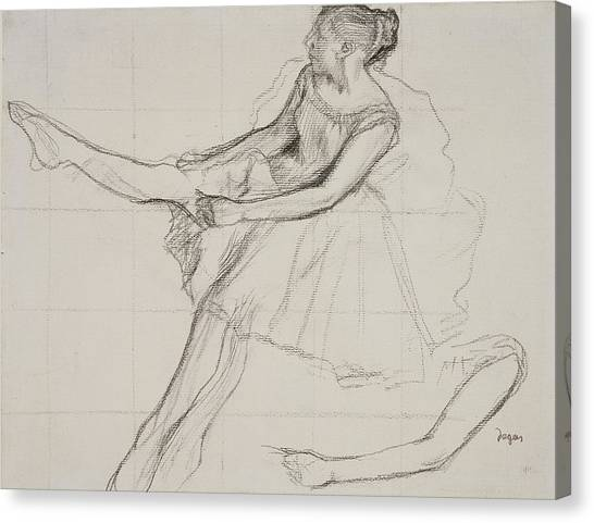 Edgar Degas Canvas Print - Dancer Adjusting Her Tights by Edgar Degas