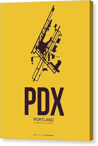 Airports Canvas Print - Pdx Portland Airport Poster 3 by Naxart Studio