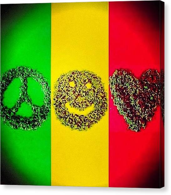 Jamaican Canvas Print - Peace ✌ Love ❤ & Cannabis 🍁 by Ash Marie