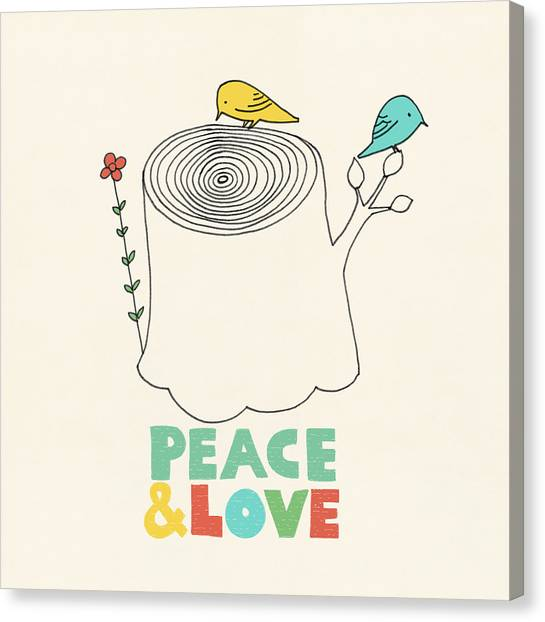 Love Canvas Print - Peace And Love by Eric Fan