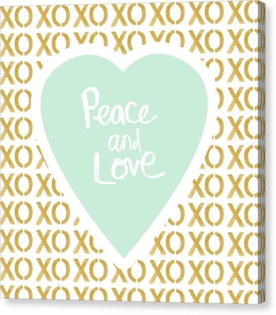 Gold Canvas Print - Peace And Love In Aqua And Gold by Linda Woods
