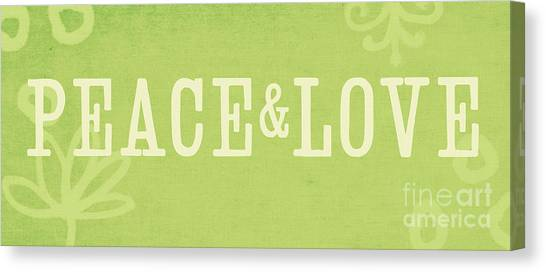 Yoga Canvas Print - Peace And Love by Linda Woods