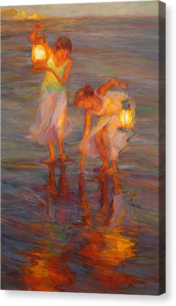 Impressionist Beach Canvas Print - Peace by Diane Leonard