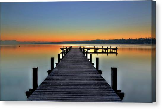 Lake Sunsets Canvas Print - Peace by Hans Peter Rank