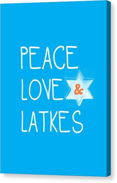 Menorah Canvas Print - Peace Love And Latkes by Linda Woods