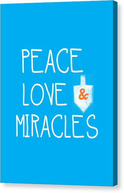 Christmas Art Canvas Print - Peace Love And Miracles With Dreidel  by Linda Woods