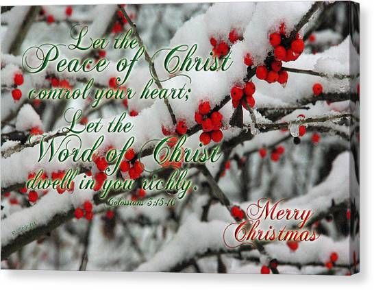 Peace Of Christ Holly Canvas Print