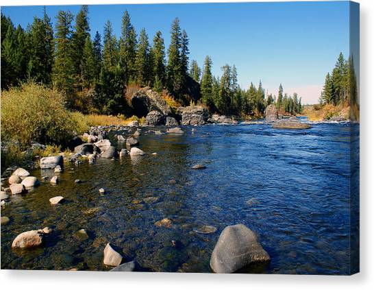 Canvas Print featuring the photograph Peace On The Spokane River 2 by Ben Upham III