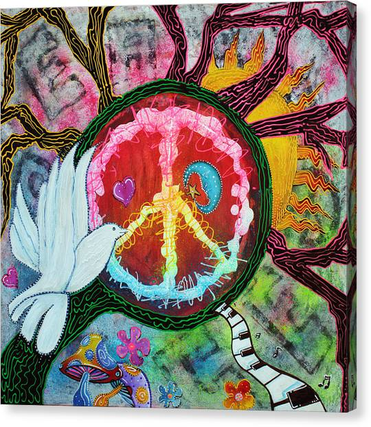 Celestial Canvas Print - Peace Tree by Laura Barbosa