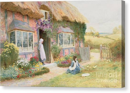 Pinafores Canvas Print - Peaceful Afternoon by Arthur Claude Strachan
