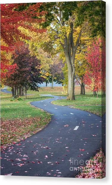 Peaceful Autumn Path Winona Photo Canvas Print by Kari Yearous