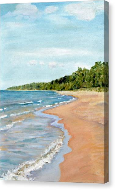 Peaceful Beach At Pier Cove Canvas Print