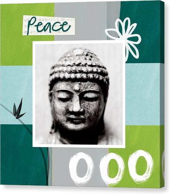 Bamboo Canvas Print - Peaceful Buddha- Zen Art by Linda Woods