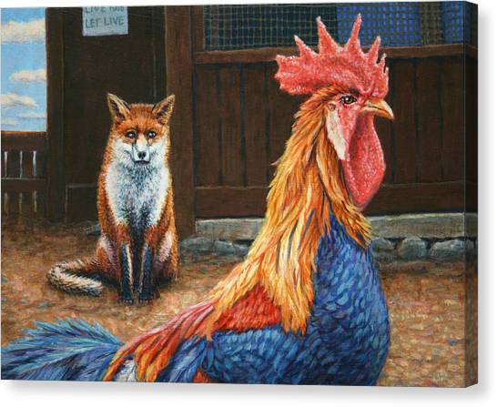 Chicken Farms Canvas Print - Peaceful Coexistence by James W Johnson