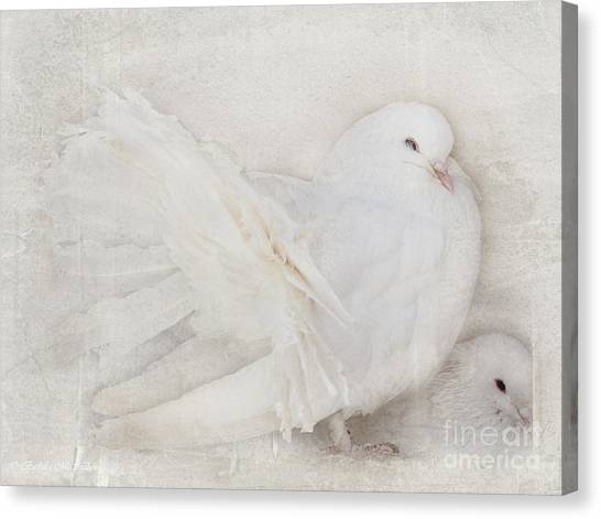 Peaceful Existence White On White Canvas Print
