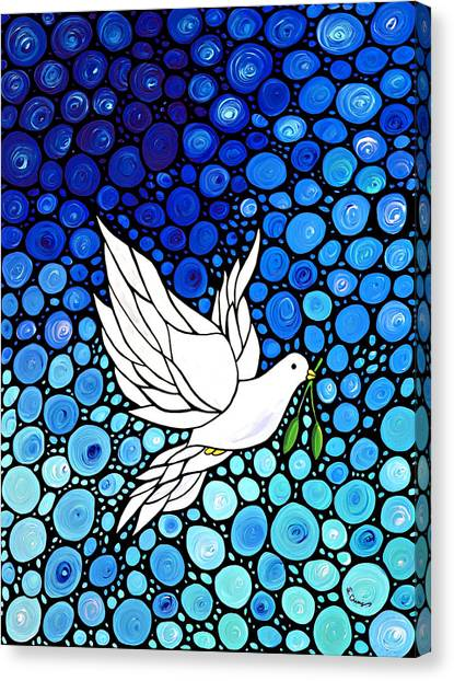 Dove Canvas Print - Peaceful Journey - White Dove Peace Art by Sharon Cummings