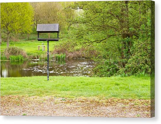 Canvas Print - Peaceful Nature Area With Lake And Bird Table by Fizzy Image
