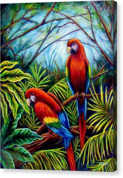 Peaceful Parrots Canvas Print by Sebastian Pierre