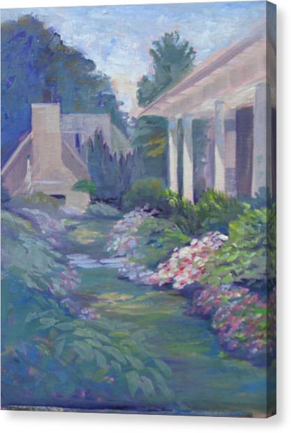 Peaceful Portico Canvas Print by Judy Fischer Walton