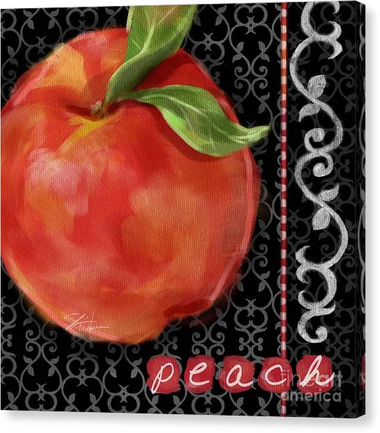 Peach On Black And White Canvas Print by Shari Warren