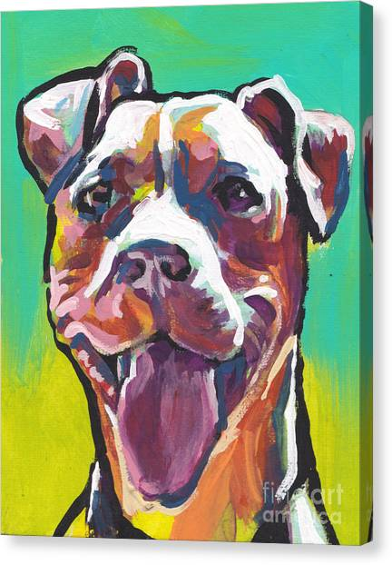 Pitbulls Canvas Print - Peach Pit by Lea S