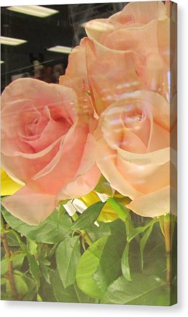 Peach Roses In Greeting Card Canvas Print