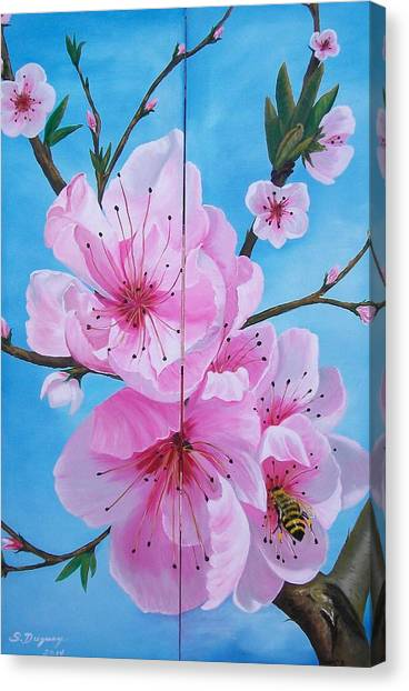 Peach Tree In Bloom Diptych Canvas Print