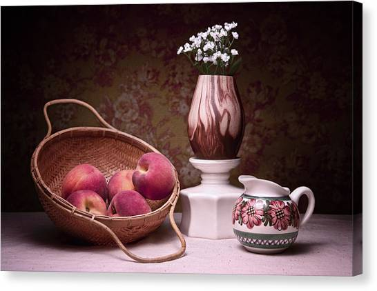 Wicker Canvas Print - Peaches And Cream Sill Life by Tom Mc Nemar