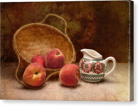 Fruit Baskets Canvas Print - Peaches And Cream Still Life II by Tom Mc Nemar