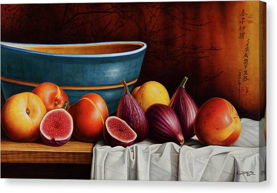 Fruits Canvas Print - Peaches And Figs by Horacio Cardozo