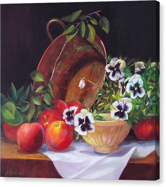 Peaches And Pansies  Canvas Print by Donna Munsch
