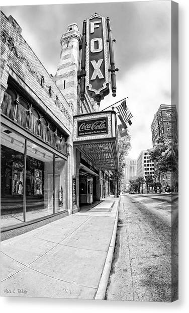 Canvas Print featuring the photograph Peachtree Street And The Fox Theatre - Atlanta by Mark E Tisdale