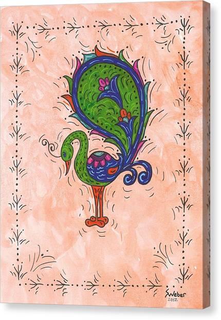 Peachy Peacock Canvas Print