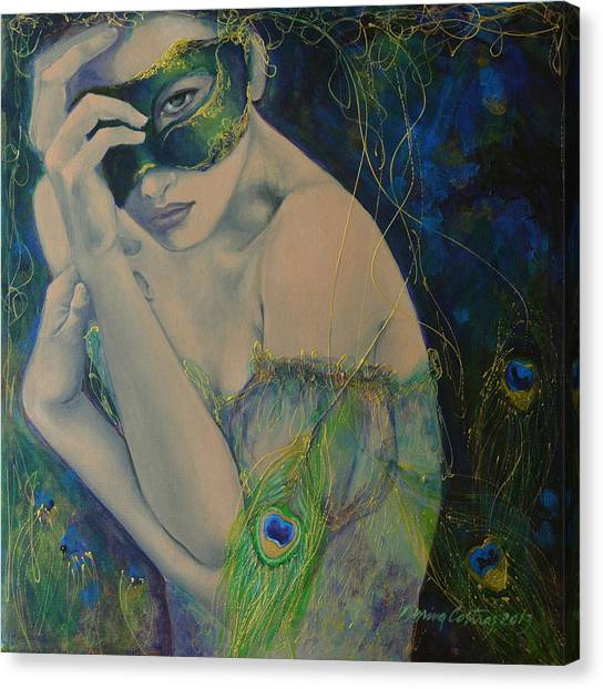 Mardi Gras Canvas Print - Peacock Enigma by Dorina  Costras
