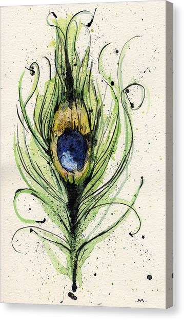Peacocks Canvas Print - Peacock Feather by Mark M  Mellon