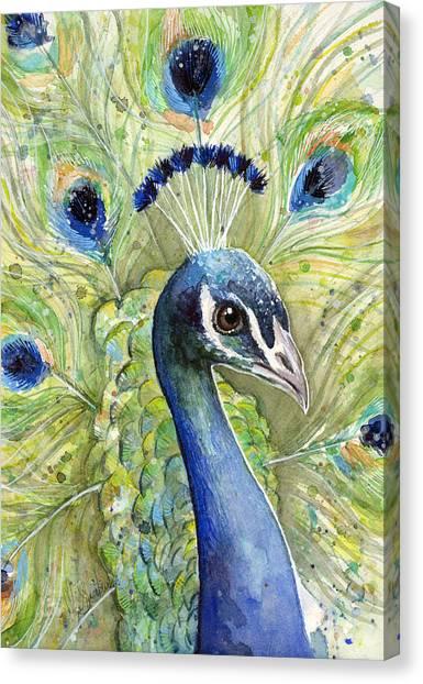 Peacocks Canvas Print - Peacock Watercolor Portrait by Olga Shvartsur